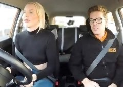 Saucy blonde babe Lexi Lou pounded by driving instructor