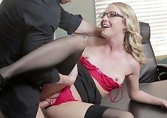 Fresh, blonde secretary got fucked very hard