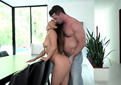 Eva Lovia Unwraps Her Lil Purple Swimsuit - PornGem
