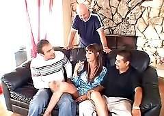 Huge-breasted wife fucking another man in front of her husband
