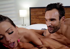 Husband surprises his lovely wife Abigail Mac with a threesome