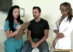 CFNM nurse Mason Moore gets some cum