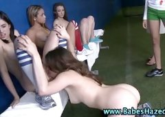 Hot college teens play lesbian pussy eating for sorority hazing