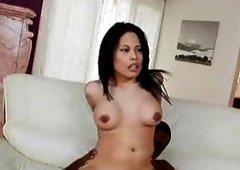 Rockin Sasha Hollander slams her bitchy snatch on a monster cock til she cums