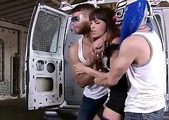Dana Dearmond gets double penetrated in a rough gangbang