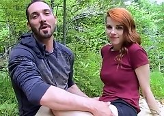 Quickie in the forest with redhead girlfriend
