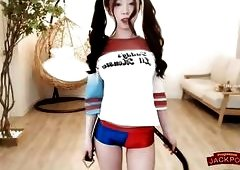 Harley Quinn cosplay  busty teenage korean girl